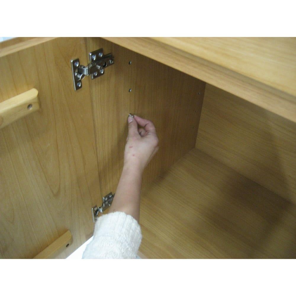 アルダー天然木ギャラリー収納シリーズ 幅80ボード 棚ダボはネジ込み式で取り外しに便利。