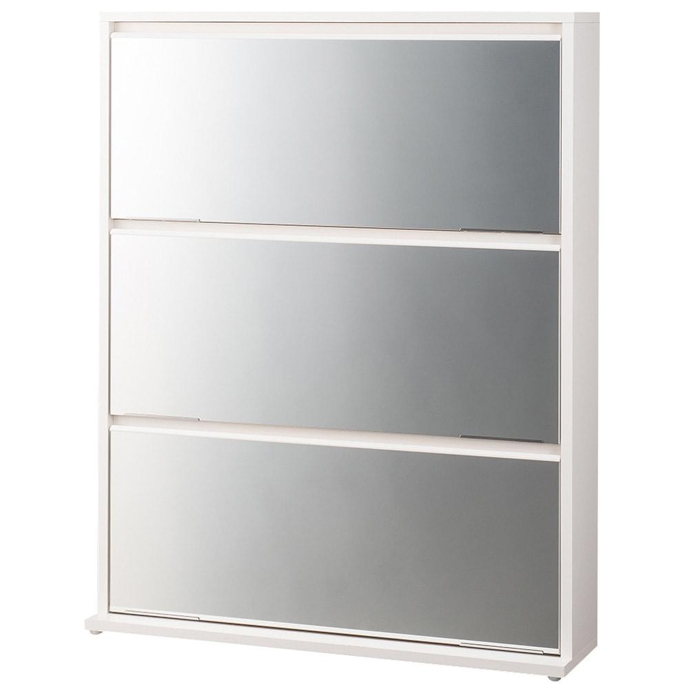 静かに開閉するミラー扉の薄型シューズボックス 3段 幅90cm (イ)ホワイト