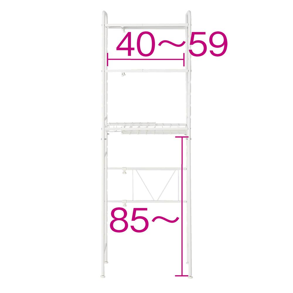 デッドスペースを有効活用 スーツケース上ラック 棚2段バスケット棚1 (イ)ホワイト ※赤字は内寸(cm) 最小内寸高さは85cm。7cm刻みで10段階に調節できます。