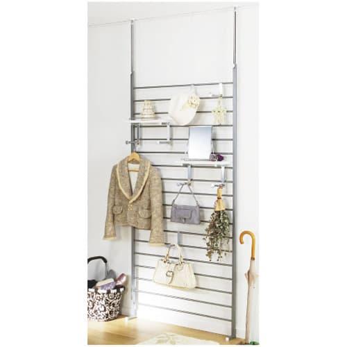 突っ張りブティックハンガー 幅95cm (ア)棚板ホワイト色