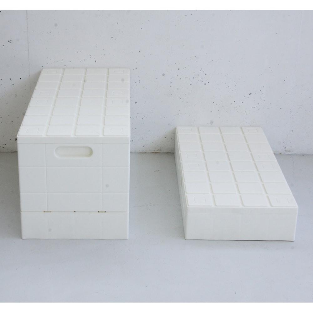 グリッドコンテナー (ウ)ホワイト 右…組み立て時、左…収納時