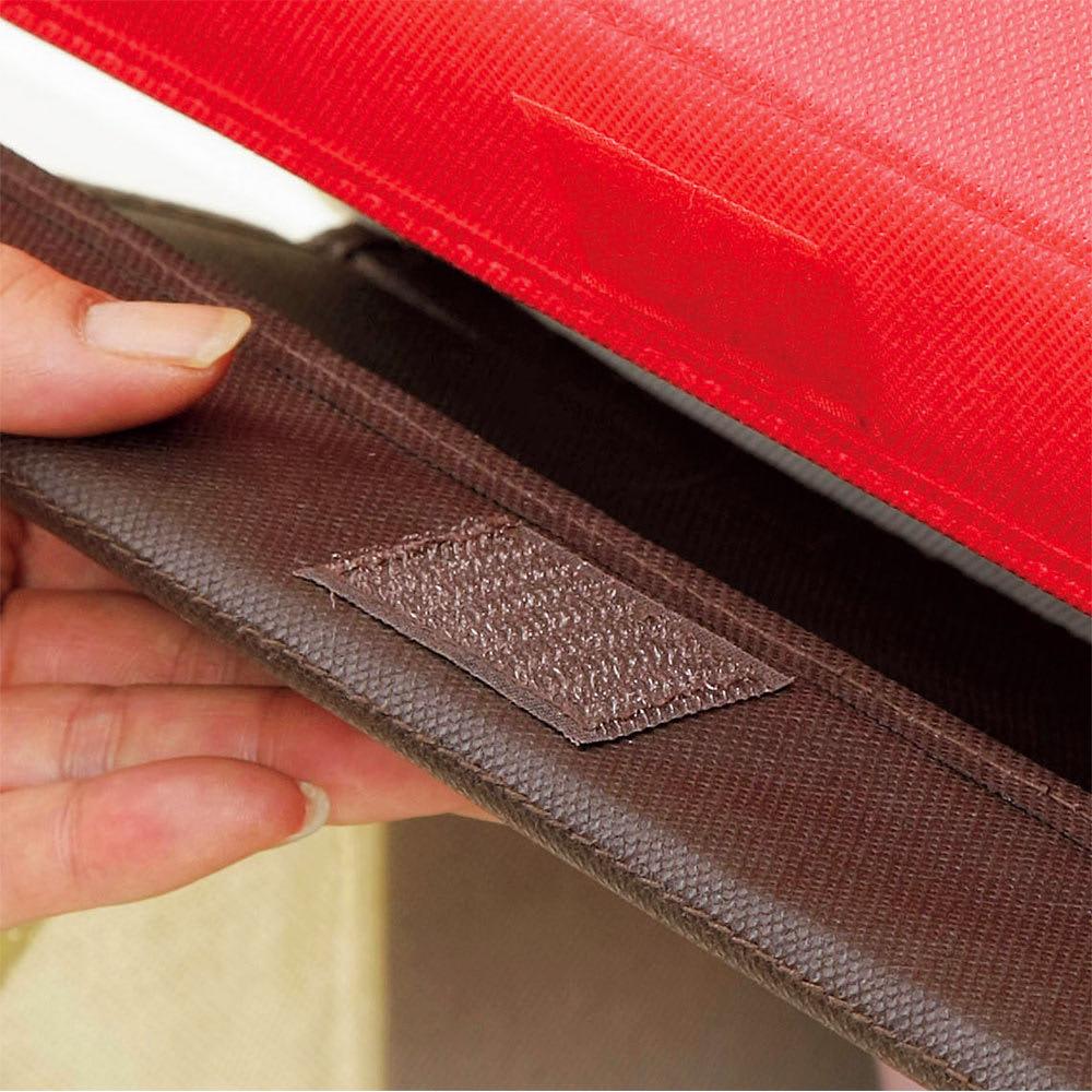 たためるスタッキングボックス3個組 面テープのフタ留め付き。