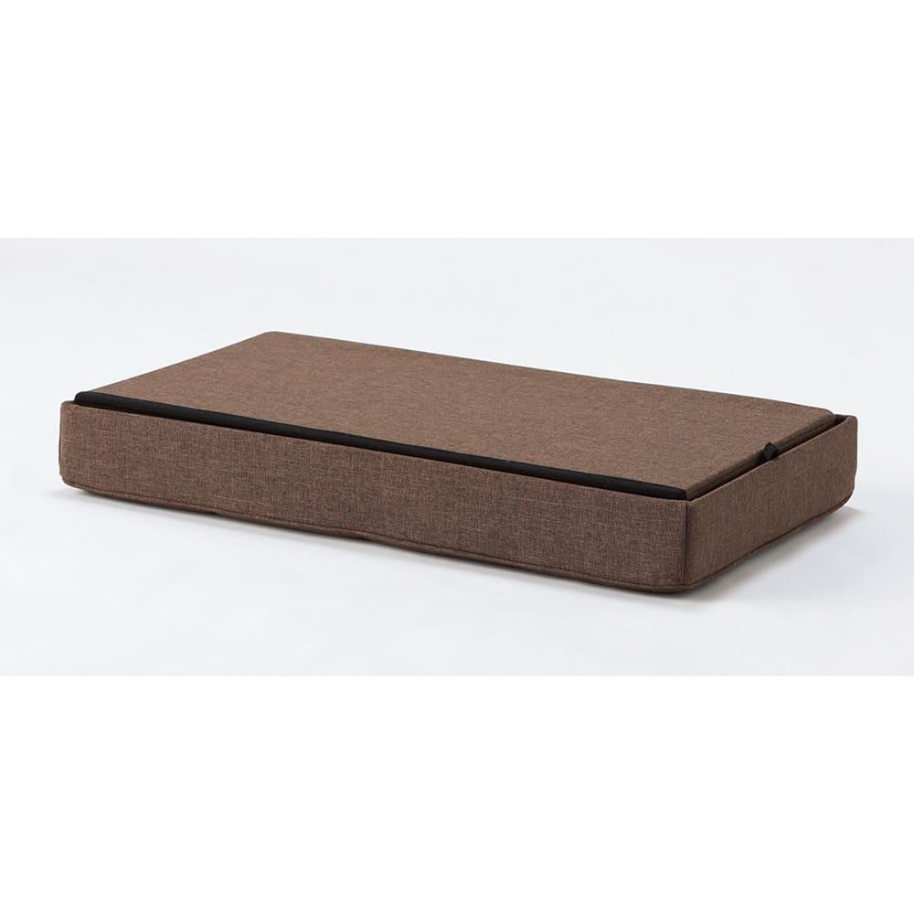 クッション付き収納BOX (ア)ブラウン コンパクトに収納できます。