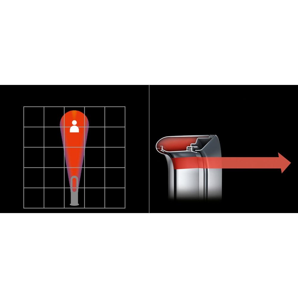 dyson/ダイソン hot&cool(暖房&扇風機) AM09 【フォーカスモード】パワフルな風を遠くまで届けます。暖かい空気は2.5mmの開口部を通過して加速され、翼型傾斜の上を流れます。フォーカスランプが空気の流れを変え、対象者に向けてパワフルな暖気を送り出します。