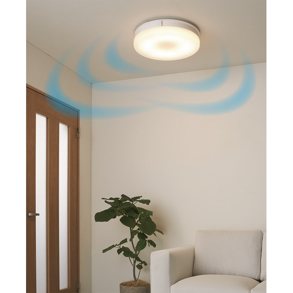 羽根のないシーリングライト LEDスマートシーリングファン 「UZUKAZE」 (ア)ホワイト (電球色)