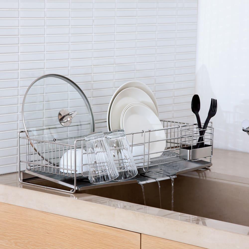 キッチン 家電 キッチン収納 水切り 水切りかご ラック シンクをまたげる奥行58cmの水切りバスケット 幅26cm 526001