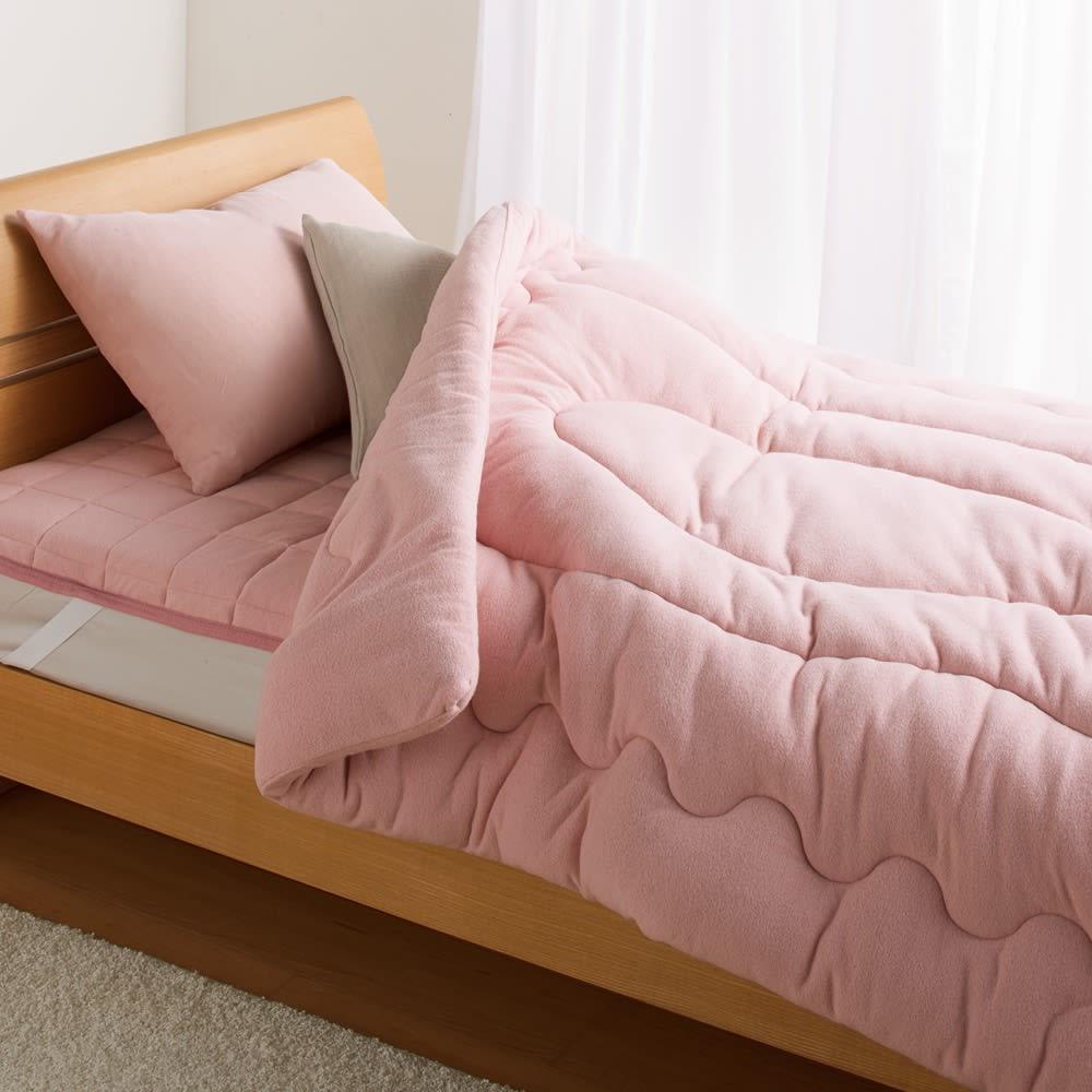 発熱するコットン「デオモイス」寝具シリーズ フランネルニットの掛け布団 (イ)オールドローズ ※お届けは掛け布団です。※写真はシングルサイズです。