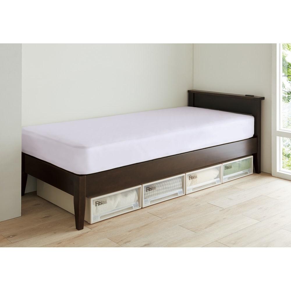 【幅97cm長さ205(マット195)cm】24サイズバリエーションヘッドボード付きベッド(国産ベッドボンネルマットレス付き) 527831