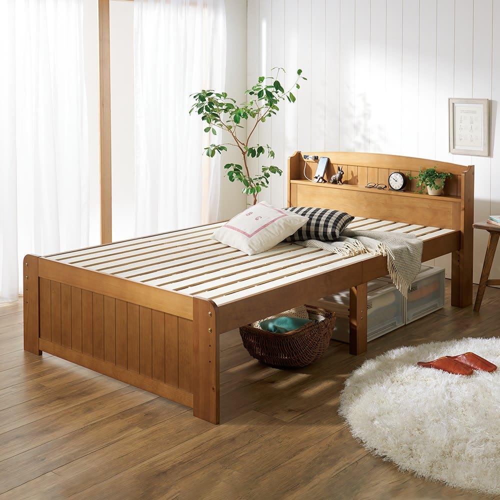 高さ2段タイプ ナチュラルカントリーなすのこベッド フレームのみ (イ)ライトブラウン 天然木パイン材使用。ベッド面は高さ調節OK! ※写真はセミダブルです。