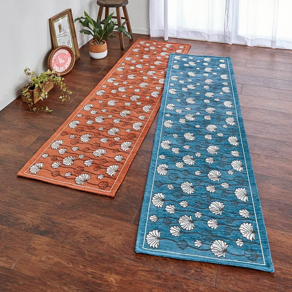イタリア製ジャカード織りマット〈カリーナ〉 左から(ア)オレンジ (イ)ブルー