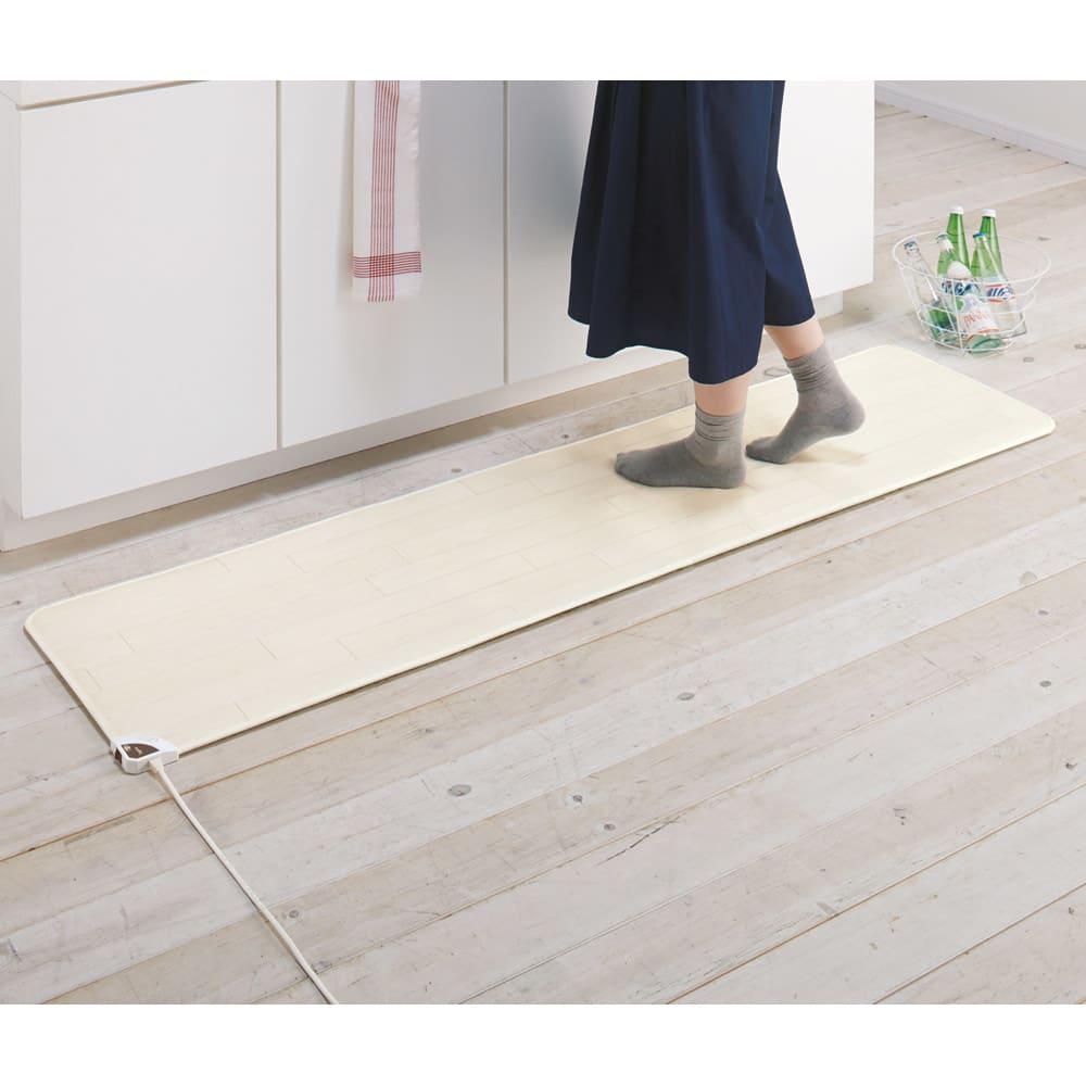 カーテン 敷物 ソファカバー カーペット ラグ マット キッチンマット 約45×130cm(ホットキッチンマット 木目柄) 529015