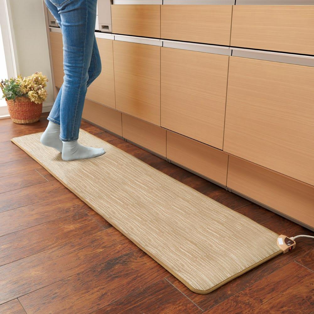 ホットキッチンマット 幅45cm カーペット柄 (ア)ベージュ ※写真は約45×180cmサイズです。