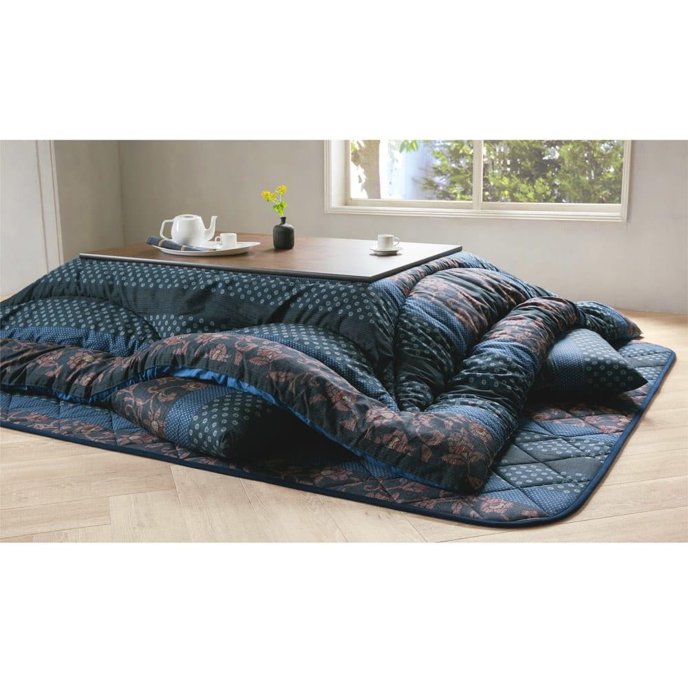 家具 収納 こたつ こたつ布団 カバー 【長方形】 日本製 ふっくらこたつシリーズ お得な掛け敷きセット 529731