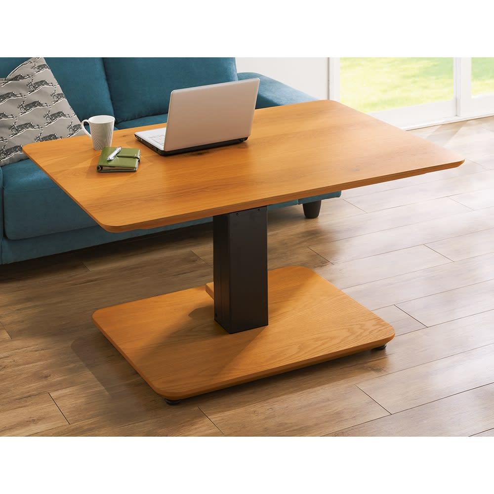 昇降式ダイニングこたつテーブル 105×75cm (イ)ナチュラル(テーブル高さ59cm時) パソコン作業にちょうど良い高さに調整可能。