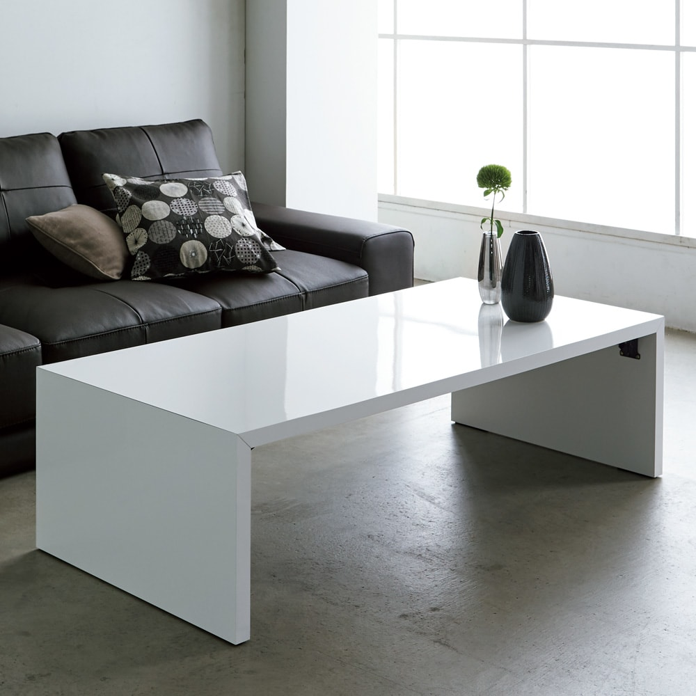 折りたたみできるスマートスタイルテーブル 120×59cm コーディネート例(ア)ホワイト(光沢)