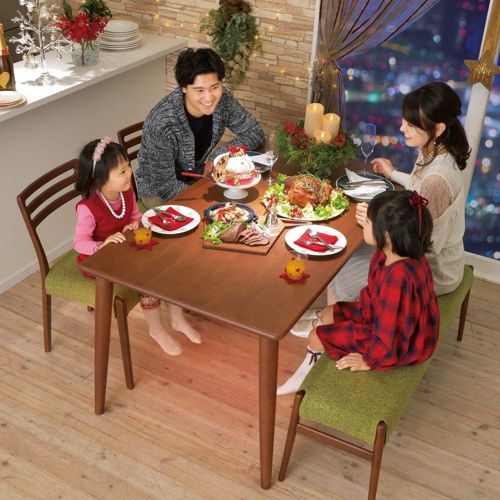布団のいらないこたつダイニング こたつテーブル・幅140cm (イ)ダークブラウン コーディネート例 ※お届けは「ダイニングこたつテーブル幅140cm」のみです。チェア・ベンチは別売りです。