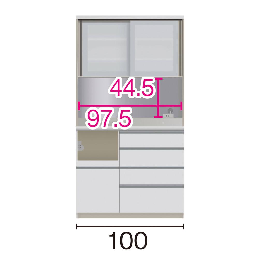 サイズが豊富な高機能シリーズ ダイニング家電収納 幅100奥行45高さ187cm/パモウナ JZL-S1000R JZR-S1000R (イ)家電収納の位置:左 ※赤文字は内寸、黒文字は外寸表示です。(単位:cm) オープン部奥行40.5 スライドテーブル部幅34.5高さ28.9奥行38cm