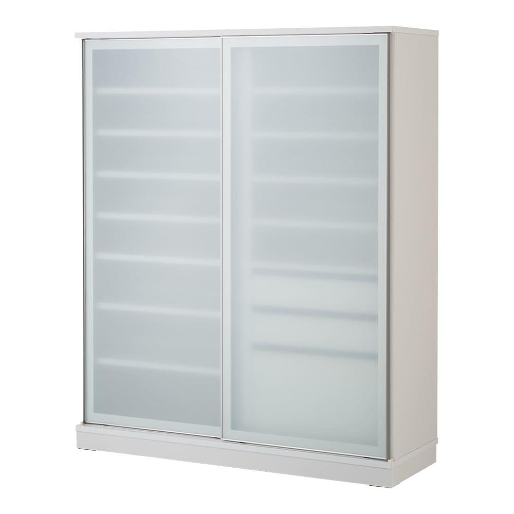 大型パントリーシリーズ スライド収納庫 ガラス扉 幅118cm (ア)ホワイト まるでシステムキッチンのようなすっきり空間が叶います。