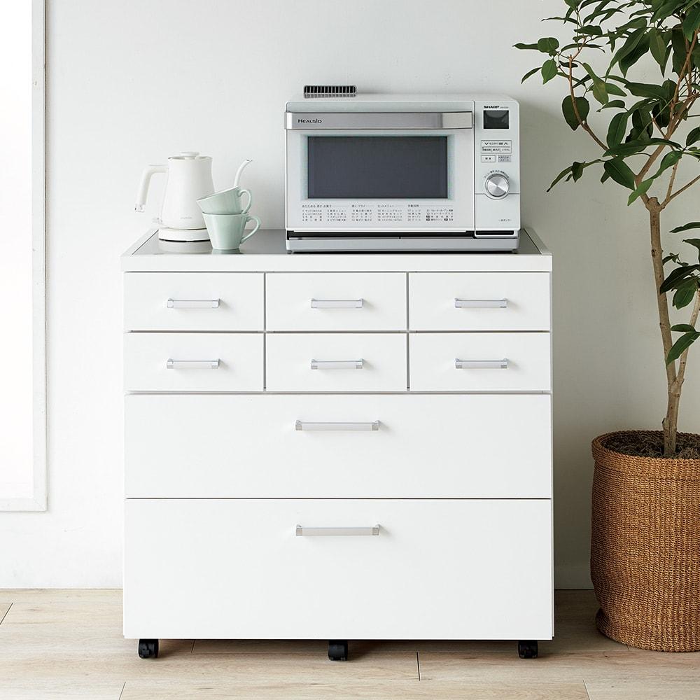 【分類して効率収納】引き出しいっぱいステンレストップカウンター 幅89cm 使用イメージ(ア)ホワイト