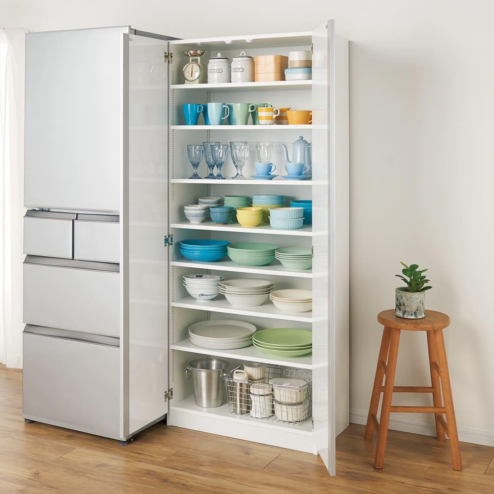 食器に合わせて選べる食器棚 幅75cm奥行42cm高さ180cm ホワイト 食器棚・ダイニングボード