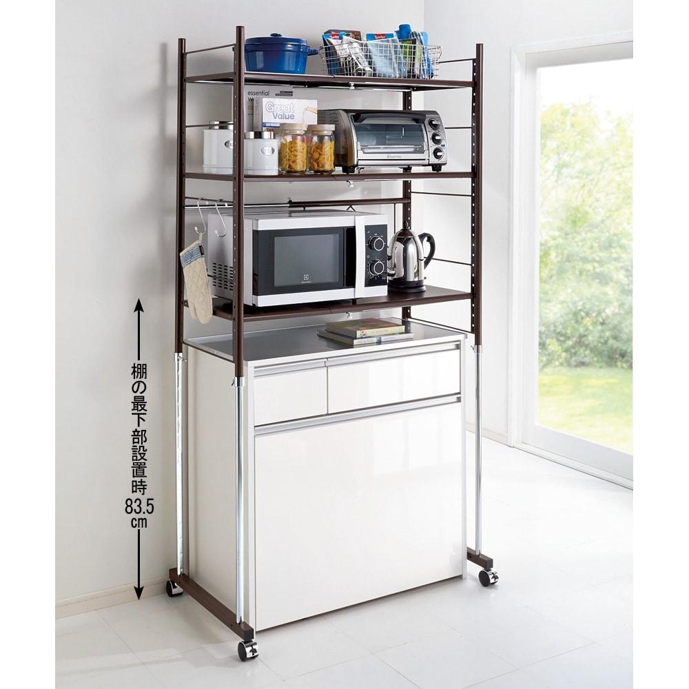 幅と高さが伸縮するキッチンラック 3段 幅と高さが自由に調整できるレンジ台。キャスター付きなのでお掃除も簡単です。