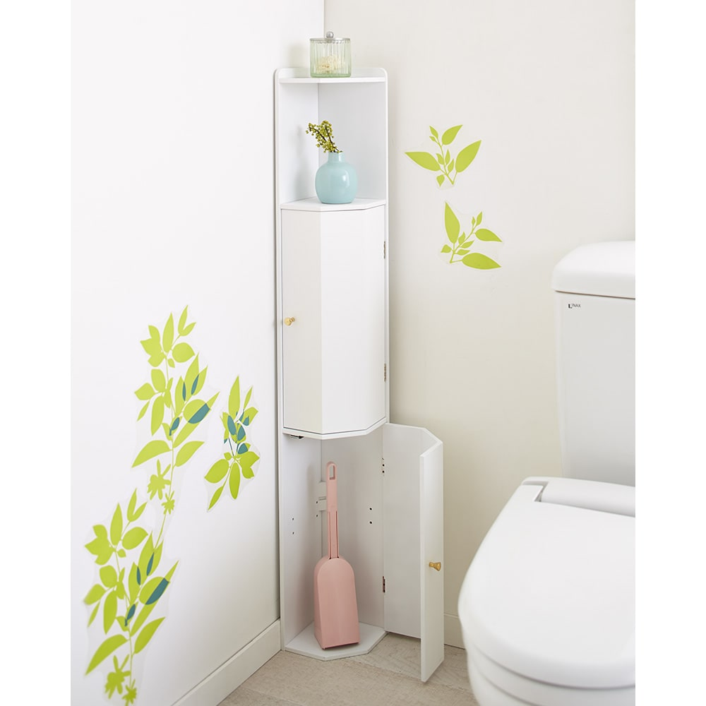 こだわりトイレの木製コーナーラック 高さ120cm 使用イメージ(ア)ホワイト