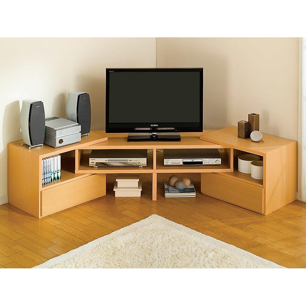 すっきり、ぴったりが心地よい伸縮式テレビ台スイングローボード オープンタイプ幅123~234cm 両端を曲げれば、お部屋のコーナーも無駄なく活用できます。テレビ、パソコン、プリンターなどリビングに集まる家電もボード上にすっきり。