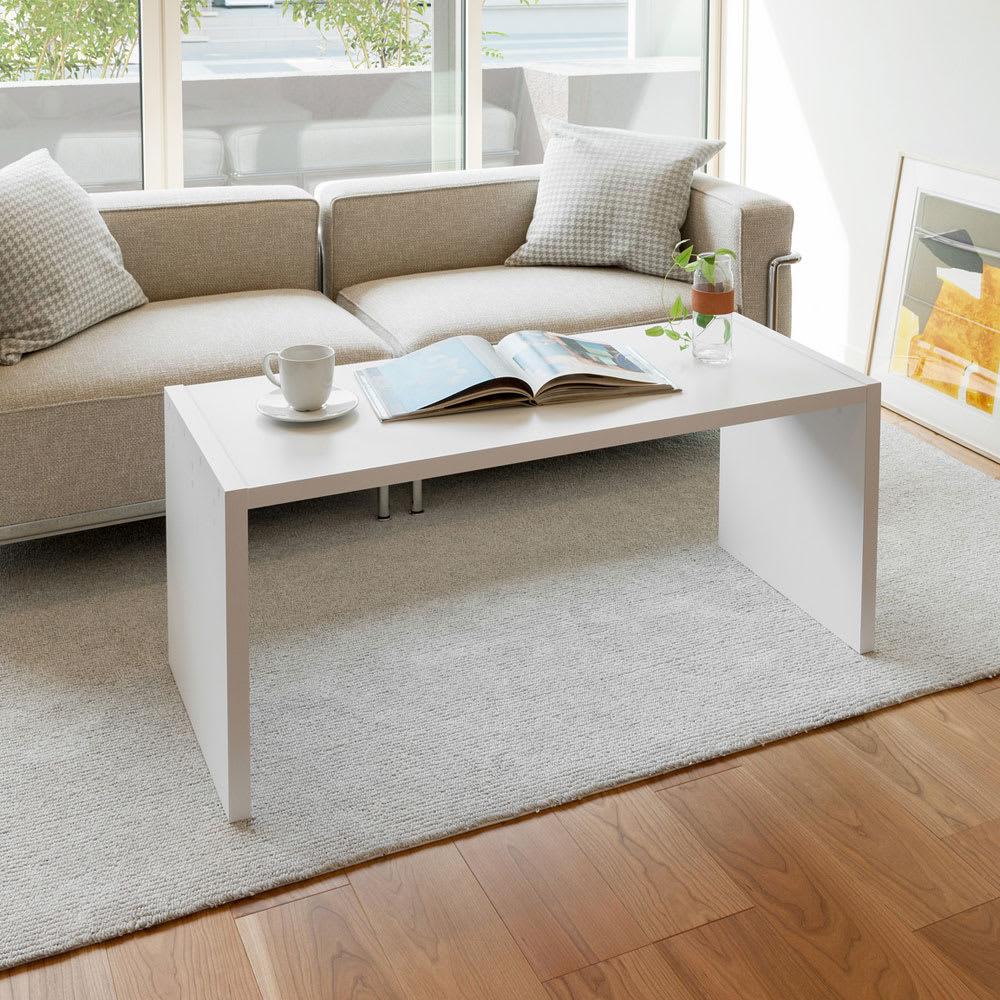 幅1cm刻みのサイズオーダーテーブル 幅60~180cm奥行30cm高さ50cm ホワイト(写真は幅110cm奥行44.5cm高さ49.2cmです)
