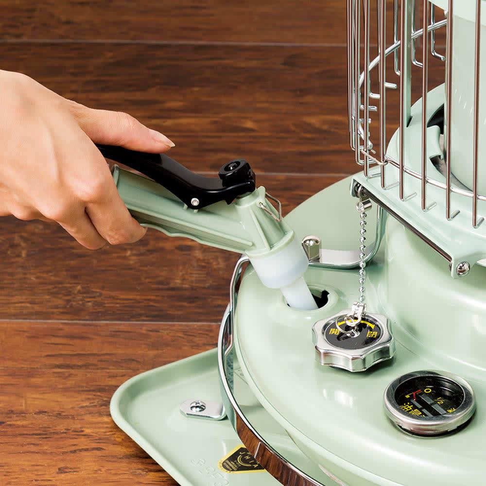 Aladdin/アラジンブルーフレーム用給油ポンプ 空気圧で給油する電池のいらないポンプ