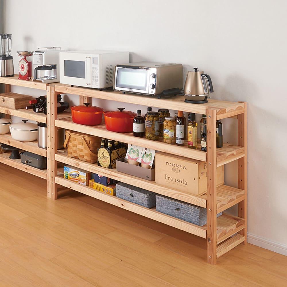 国産杉の飾るキッチンシリーズ キッチンラック・ロー 幅149奥行38cm キッチンに必要な重い家電や食品も安心して収納していただけますので、レンジラック、家電ラックとしても。