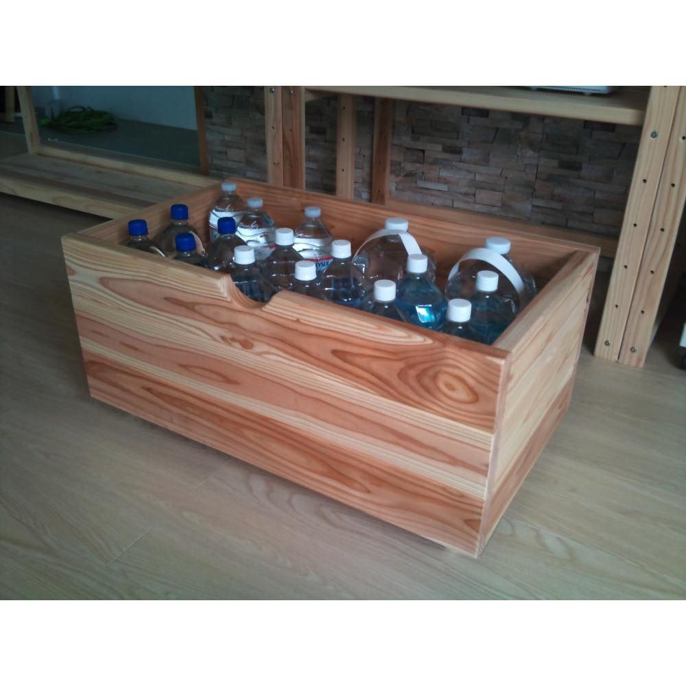 国産杉の飾る無垢材キッチン収納 キッチンワゴン 幅137奥行45cm (ラック幅149cm用) ペットボトルもきちんとおさまります。