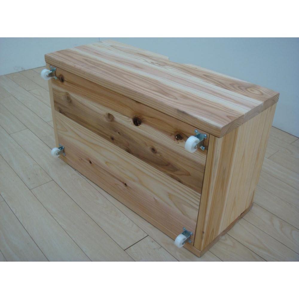 国産杉の飾る無垢材キッチン収納 キッチンワゴン 幅137奥行45cm (ラック幅149cm用) 移動に便利なキャスター付き