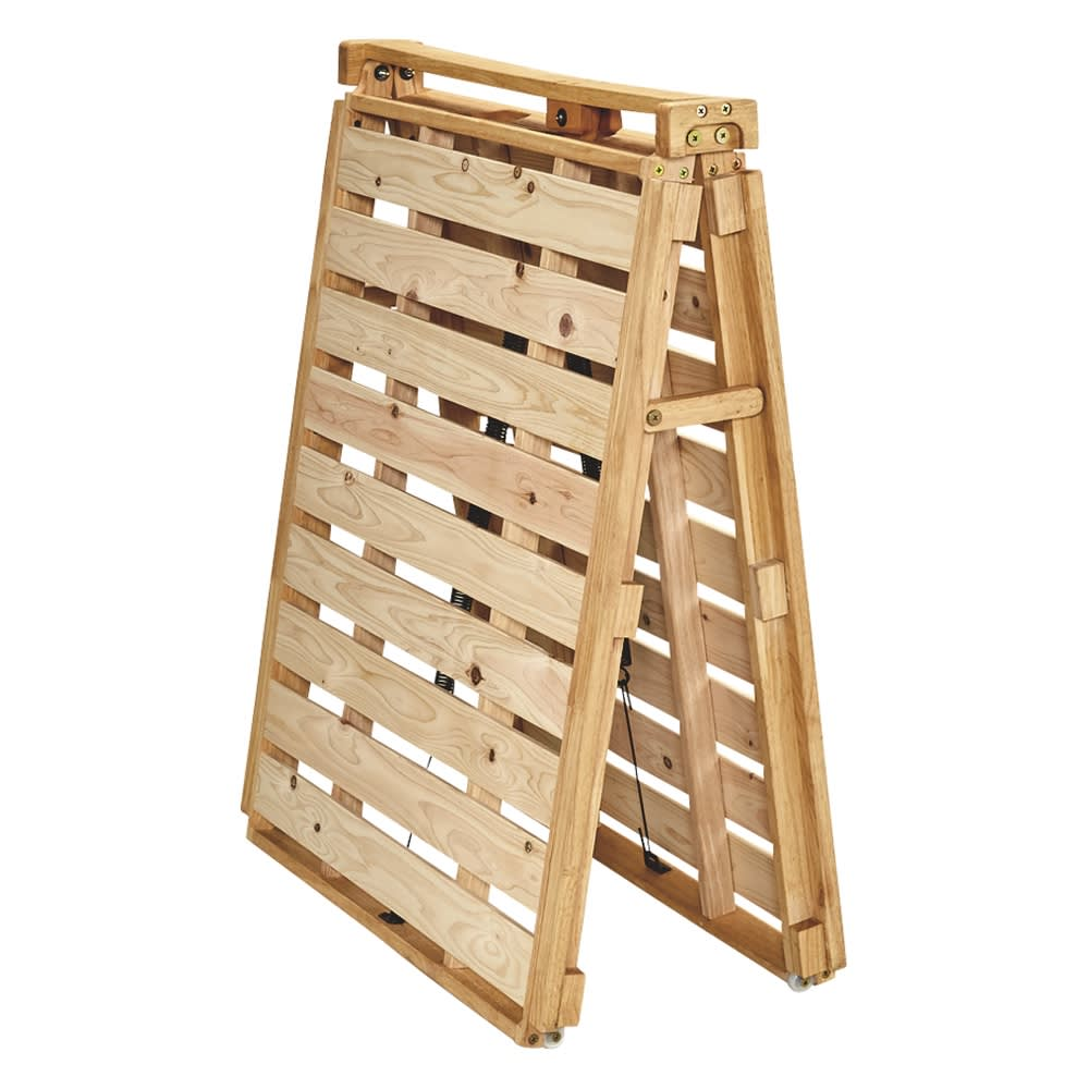 ぴったり並べられる折りたたみ ひのきすのこベッド ベッド単品 ※写真は幅80cmタイプです。