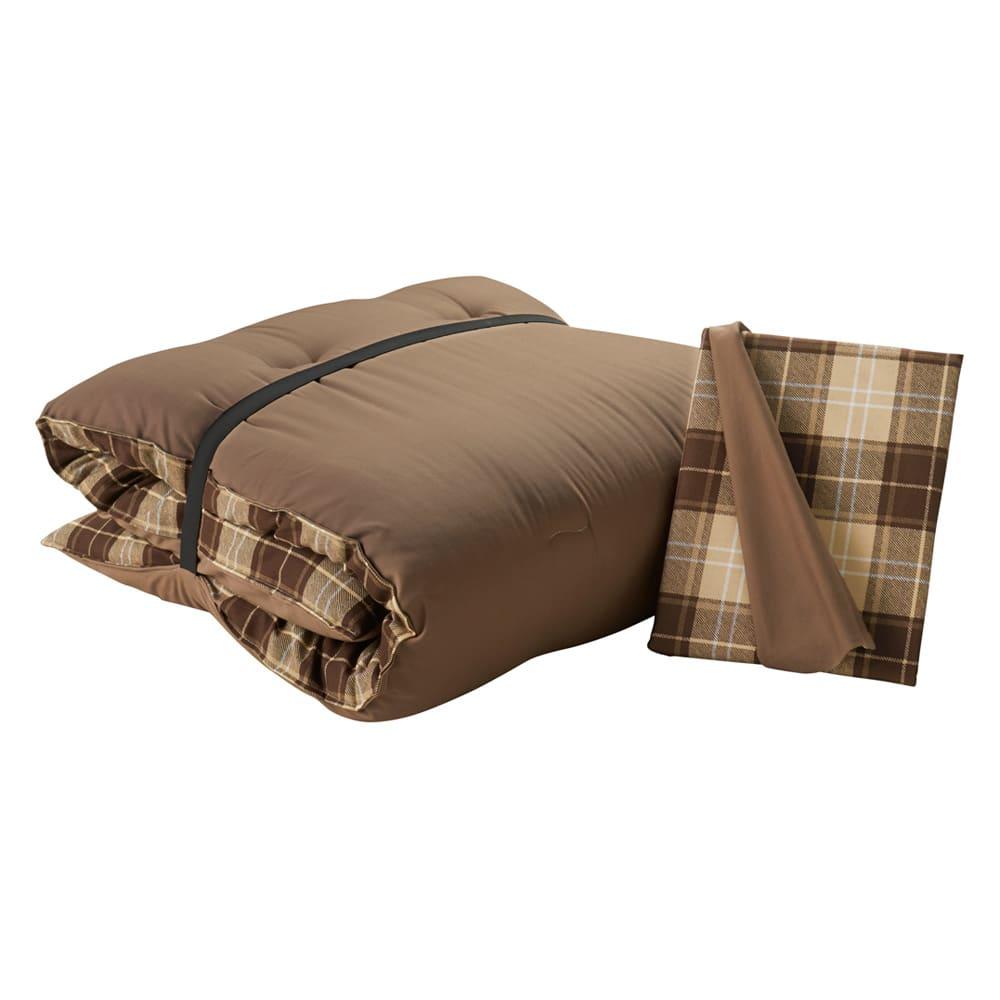 寝心地こだわりごろ寝布団 洗える専用カバー付きセット (ア)ベージュXブラウン 専用カバー付きセット ゴムバンド付き