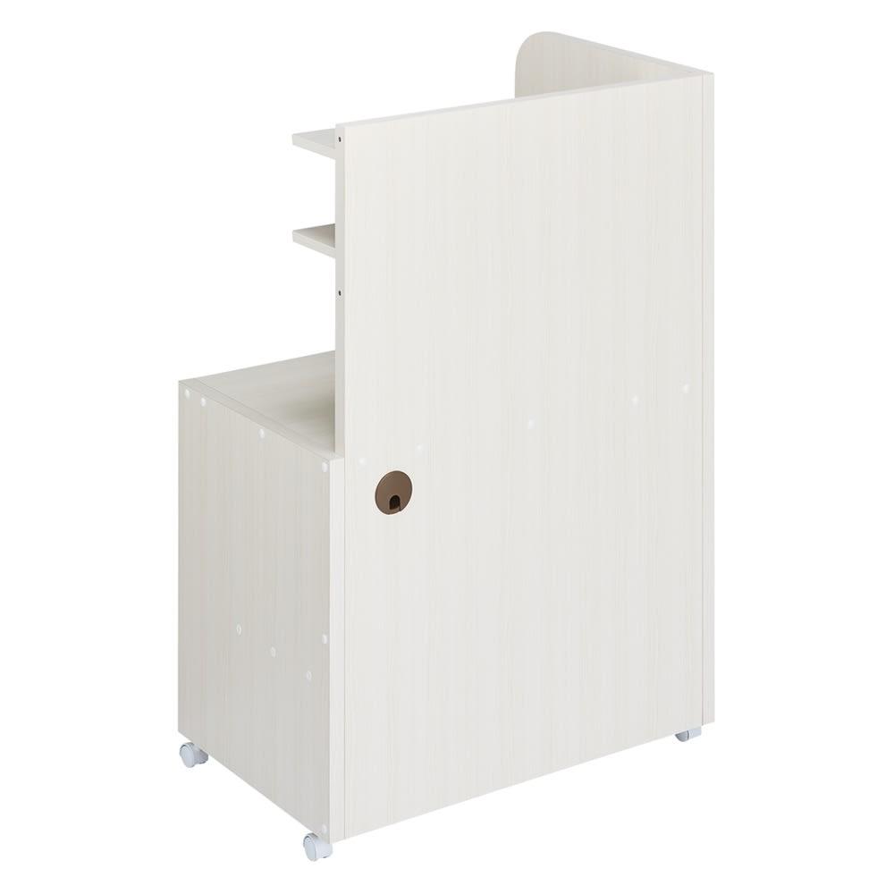 テレワークにおすすめ!おこもり個室デスク 幅85.5cm (イ)ホワイト(木目) 背面は美しい化粧仕上げ。サイドパネルは左右どちらにも取付け可能です。