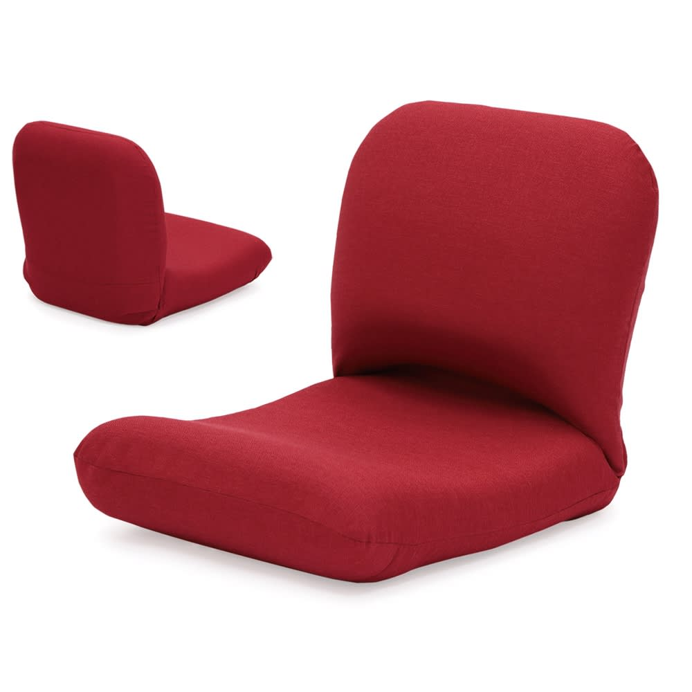 日本製背中を支えるコンパクト美姿勢座椅子 本体 (オ)レッド 背面もきれいな共生地仕上げ。