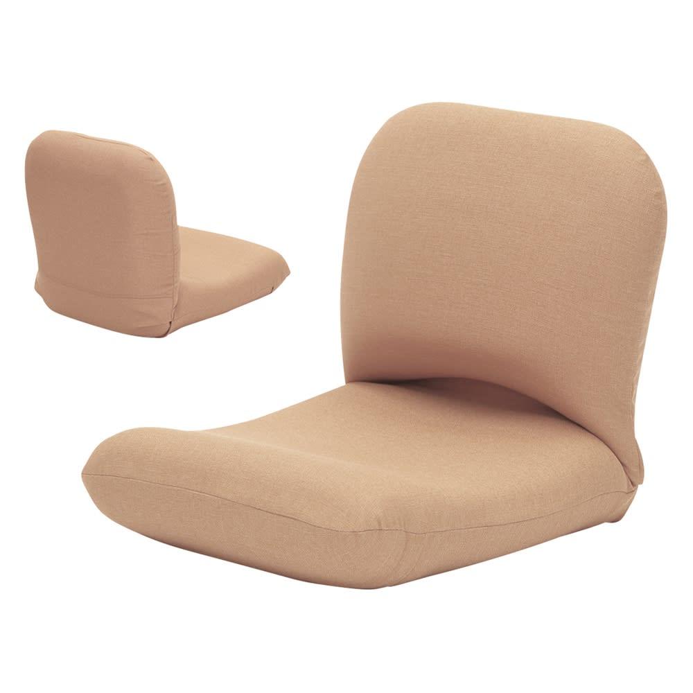 日本製背中を支えるコンパクト美姿勢座椅子 本体 (ア)ベージュ 背面もきれいな共生地仕上げ。