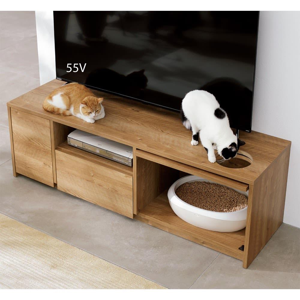 猫トイレを目隠しできる! ネコのくつろぎスペース付きテレビ台 幅180cm (ア)ブラウン フラップ扉の穴は、収納時に天板の穴と重なる設計。 ※写真は幅150cmタイプです。