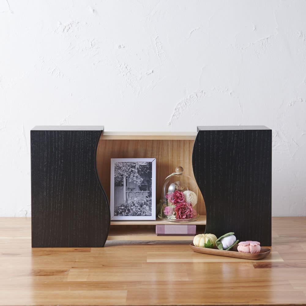 想ひ箱 日本製ミニ仏壇 ブラック・グレー (ア)ブラック 写真やお花、想い出の品物、大切な想い出を飾ることができます。