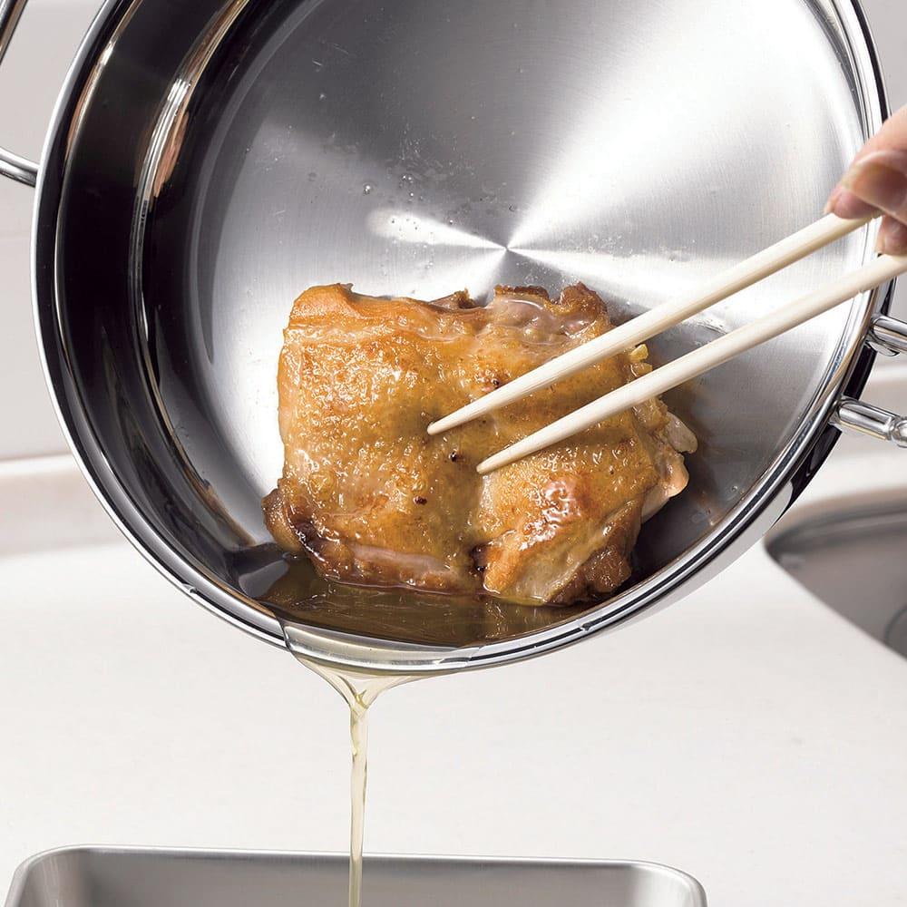 【特典3点付き】IH対応 服部先生のステンレス7層構造鍋「ジオ」 6点セット 【無油調理】極力油を抑えて調理できます。油分を含んだ食材なら無油調理もOK。(※写真はチキンソテー)