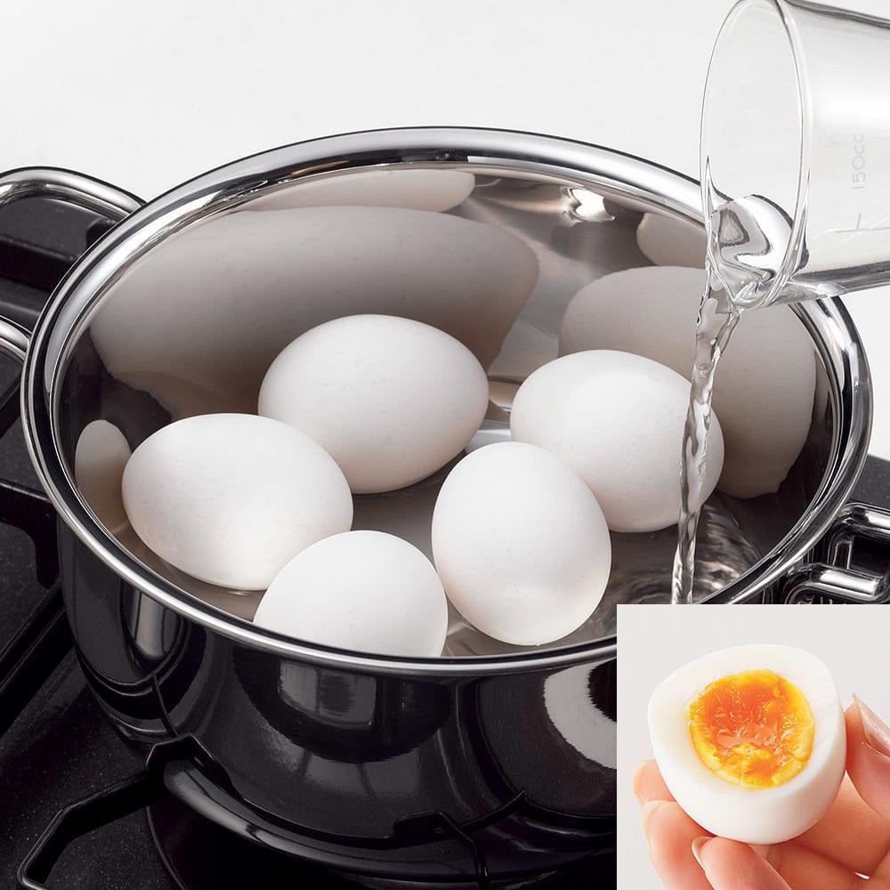 ジオ鍋2点セット特典付き 片手鍋18cm 両手鍋20cm 【茹でる】調理時間5分、わずか70ccの水でゆで玉子が完成します。(※写真はゆで玉子)