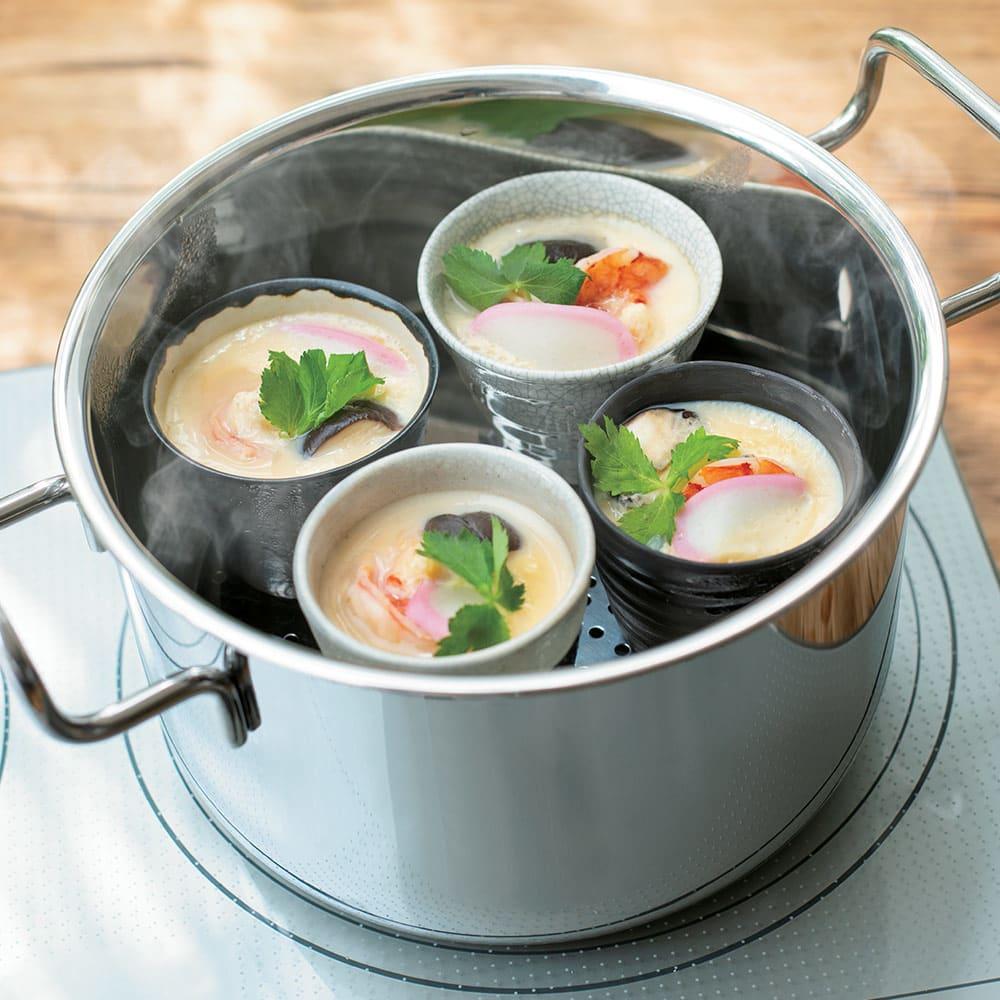 IH対応 服部先生のステンレス7層構造鍋「ジオ」 両手鍋径18cm 【蒸す】お湯を浅くはった鍋で蒸せば、つるりなめらかな茶碗蒸しに。(※写真は茶碗蒸し)