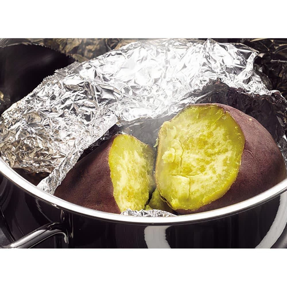 IH対応 服部先生のステンレス7層構造鍋「ジオ」 ステンレス7層玉子焼 まるで焼き芋屋さんのような仕上がり!ふかしイモとは違うホクホクの仕上がりです。