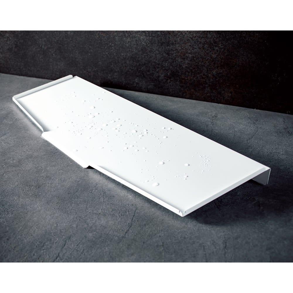 オールステンレス製シンクに渡せる水切り フッ素加工トレー付きスリムロングハイタイプ