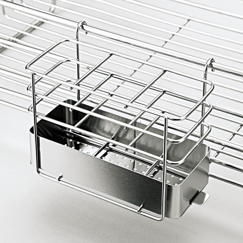 オールステンレス製シンクに渡せる水切り フッ素加工トレー付きスリムロングハイタイプ 便利な付属品2点が付きます。 箸立て(底は外して洗えます)