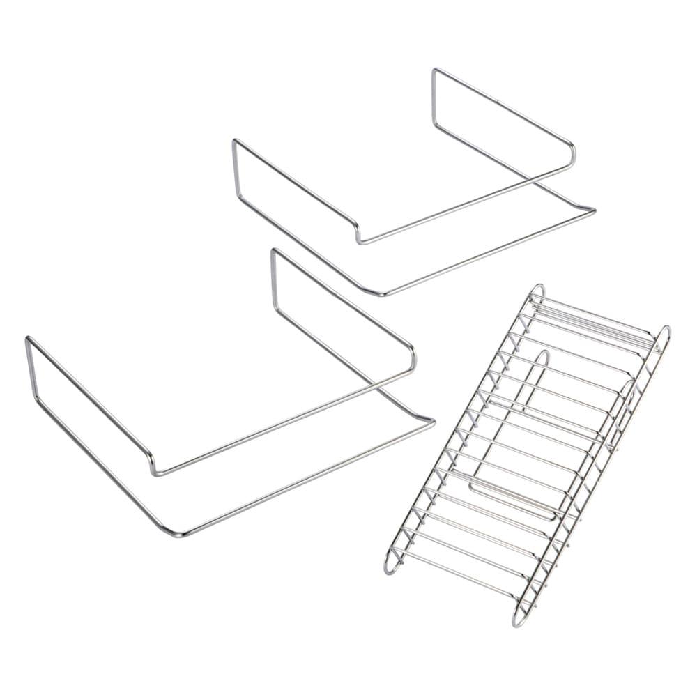 ステンレス棚どこでもサポートラック 2段デラックス まな板ラック2個、包丁差し1個付き。