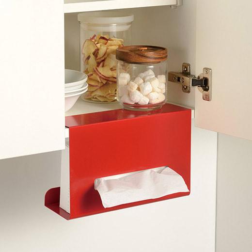 吊り戸棚下ティッシュボックスハンガー (ウ)レッド 吊り戸棚に引っ掛けるだけで簡単に設置できます。