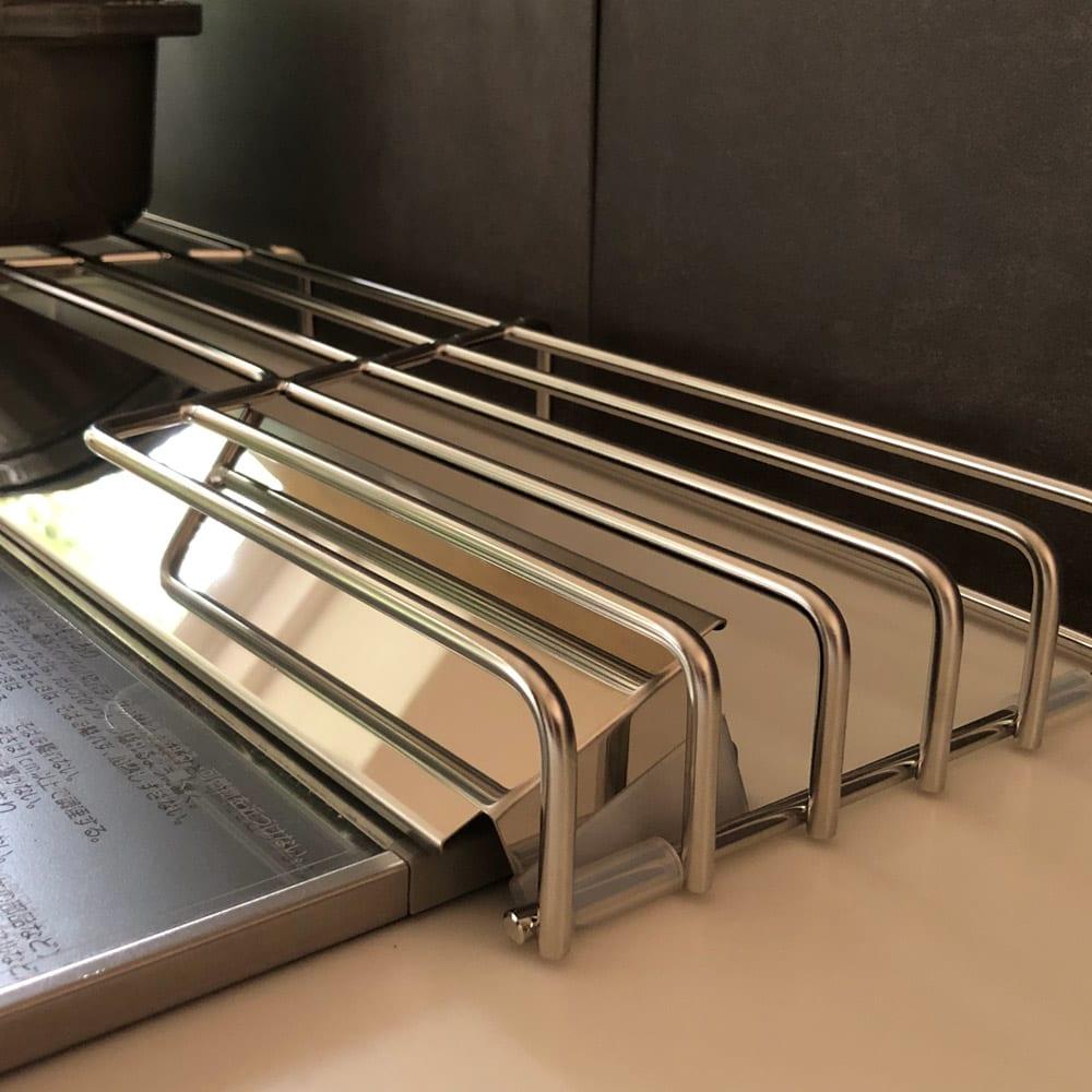 オールステンレス頑丈コンロ奥ラック 排気口カバー付き幅60cm用