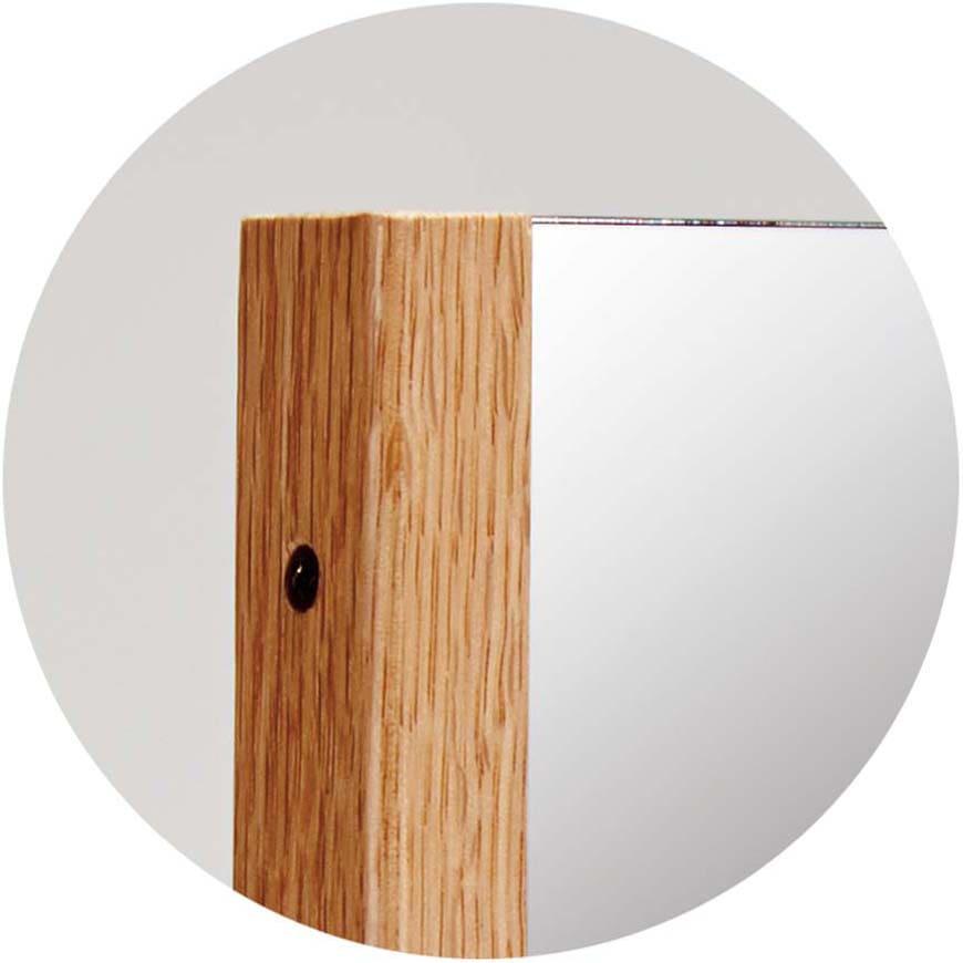 割れない軽量フィルムミラー プレミアム 天然木フレーム (ア)ナチュラル 天然木フレームのプレミアム仕様。正面に見える枠の太さは約2cmです。