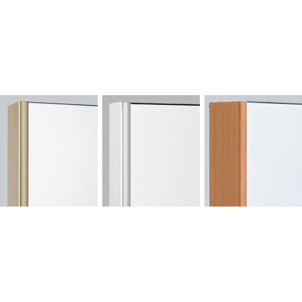 割れない軽量フィルムミラー ドア掛けタイプ 20×120cm[細枠フレーム] 左から(ア)シャンパンゴールド(イ)シルバー(ウ)木目調